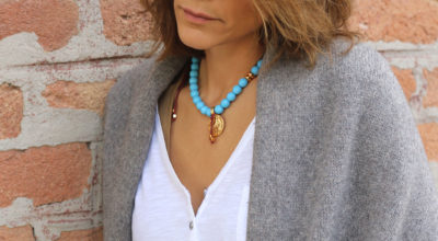 Turquoise for fall/winter season - turquoise jewelry - coin necklace - turquoise necklace - gold necklace - chic necklace