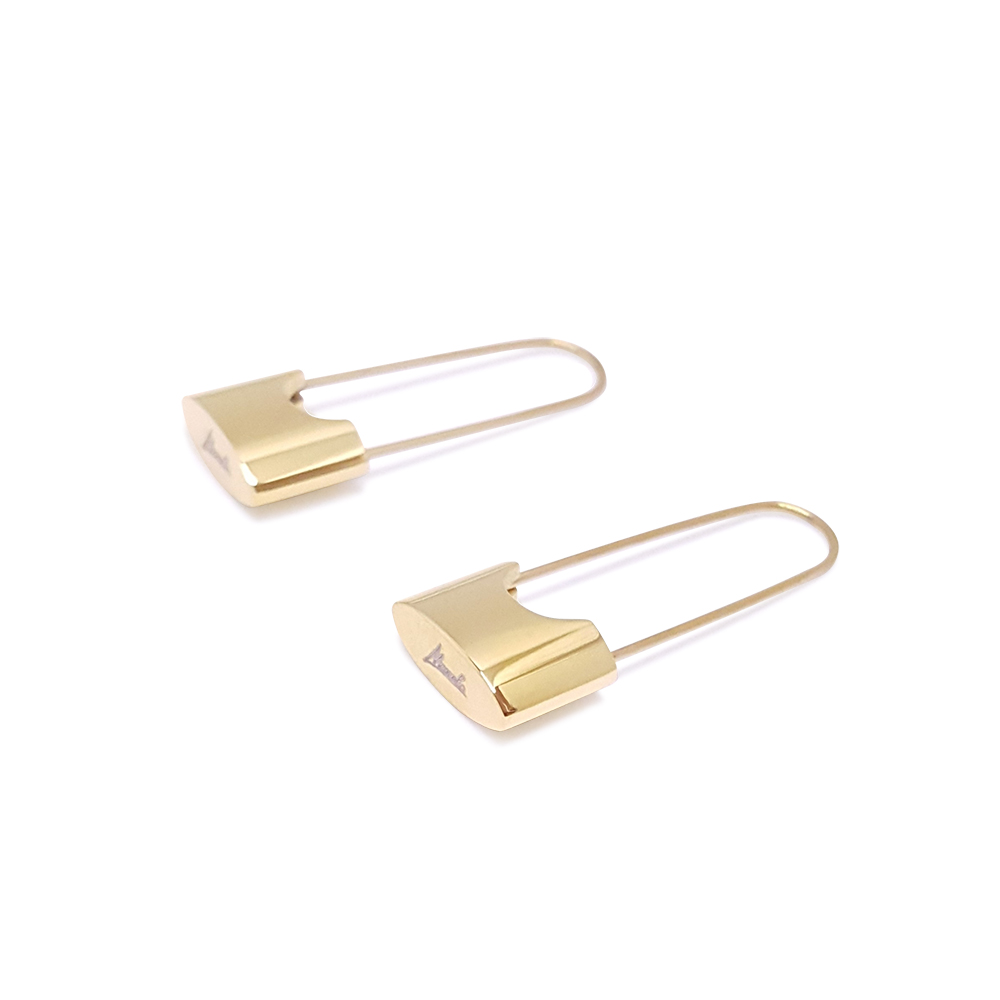 Link Up Earrings - statement gold earrings - safety pin earrings - Manola jewelry