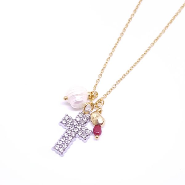 Crossing Necklace - cross charm necklace - diamond necklace - pearl necklace - gold necklace - Manola jewelry