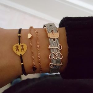 Trendy bangle bracelets - heart charm bracelets - gold bangle bracelets - Manola jewelry