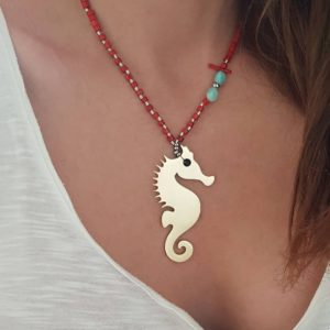 Statement necklace - seahorse charm necklace - coral necklace - rhinestone necklace - Manola jewelry