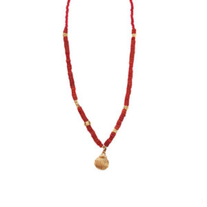 Seashell Story Necklace - shell necklace - red coral necklace - statement shell necklace - Manola jewelry
