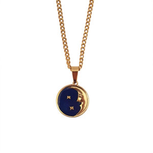 By The Moon Necklace - moon charm necklace - navy necklace - Manola jewelry
