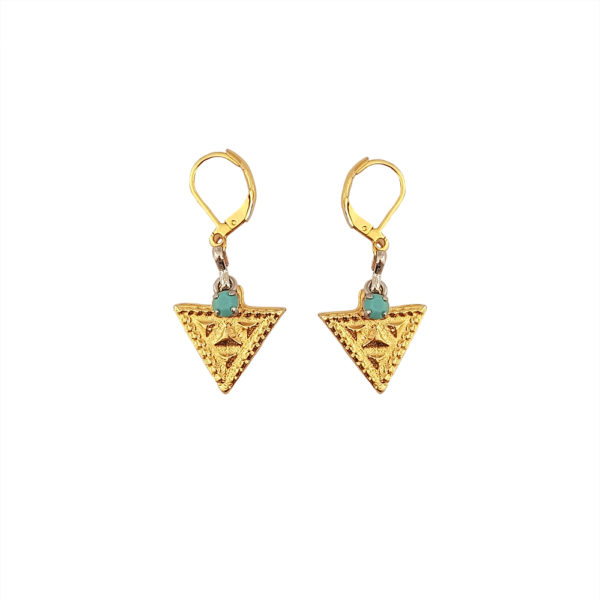 True Wisdom Earrings - triangle earrings - Turquoise earrings - Manola jewelry