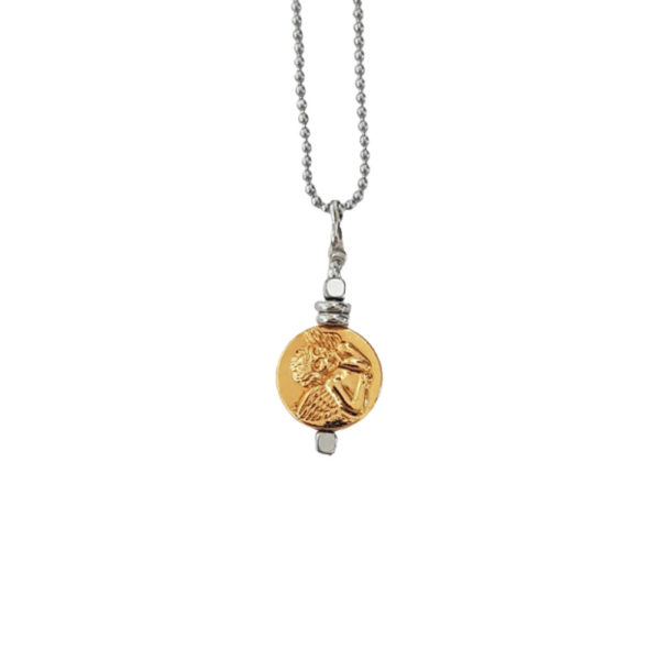 Close To You Necklace - coin necklace - gold coin necklace - angel charm necklace - angel pendant necklace - Manola jewelry
