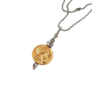 Coin gold chain - angel charm necklace - gold coin necklace - antique necklace - Manola jewelry
