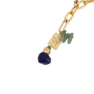 Bite Back Necklace 1 - lapis lazuli necklace - gold chain necklace - aventurine necklace - snake charm necklace - Manola jewelry