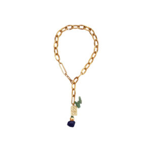 Bite Back Necklace - green aventurine necklace - lapis lazuli necklace - gold chain necklace - Manola jewelry