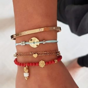 Stacking gold bracelets - beaded bracelets - heart charm bracelets - coin bracelets - bangle bracelets - Manola jewelry