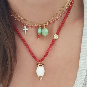 Layering necklaces - red coral necklaces - gemstone necklaces - gold chain necklaces - Manola jewelry