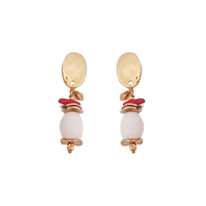 Cosmic Earrings - coral earrings - white earrings - statement earrings - gold earrings - Manola jewelry