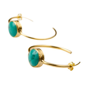 No Boundaries Earrings - turquoise earrings - gold turquoise earrings - statement earrings - hoop earrings - gold hoop earrings - gold jewelry