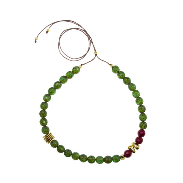 Far Far Away Necklace - statement necklace - green necklace - burgundy necklace - Manola jewelry