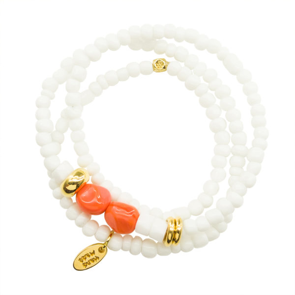 Fresh Start Bracelet - orange bracelet - white statement bracelet - spring summer 2019 bracelet - top 2019 bracelet - Manola jewelry