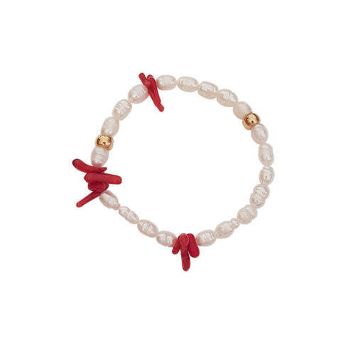 Gonna Sparkle Today Bracelet - pearl bracelet - coral bracelet - statement bracelet - Manola jewelry
