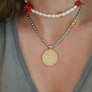 Layered coin necklaces - coin necklaces - pearl necklaces - Manola jewelry