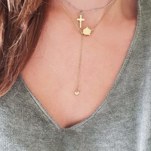 gold chain layered necklaces - cross charm necklaces - hamsa necklaces - hamsa jewelry - Manola jewelry