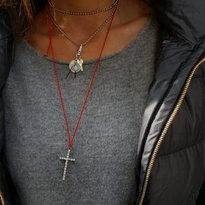 Necklace by Manola jewelry - key charm statement necklace - red string lucky necklace - cross charm lucky necklace - Manola jewelry