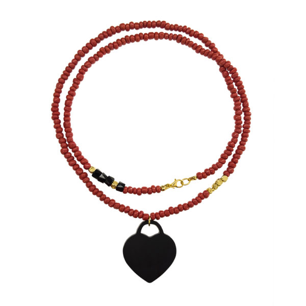 In Love Necklace - coral statement necklace - double wrap fashion necklace - black heart charm necklace - Manola jewelry