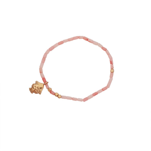 Keep Swimming Bracelet - fish charm bracelets - pink coral bracelets - Manola jewelry