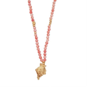 Keep Swimming Necklace - pink coral necklace - fish charm necklace - Manola jewelry