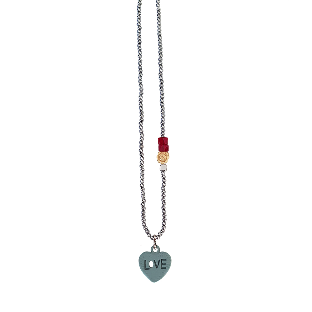 Lessons In Love necklace - statement necklace - turquoise heart charm necklace - mix metal necklace - heart charm necklace - manola jewelry