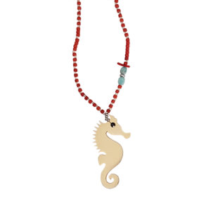 Mate For Life Necklace - seahorse necklace - coral necklace - Manola jewelry