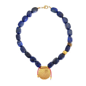 Mighty Will Necklace - lapis lazuli jewelry - coin statement necklace - blue necklace - Manola jewelry