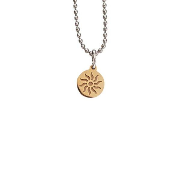 Rise Again Necklace - sun charm necklace - coin necklace - silver and gold necklace - Manola jewelry