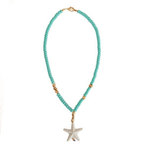 Starfish Wishes Necklace - starfish charm necklace - sea jewelry - turquoise necklace - statement necklace - Manola jewelry