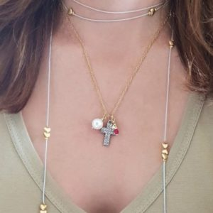 cross charm necklace - heart charm necklace - gold cross necklace - manola jewelry
