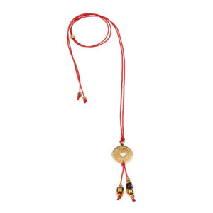 Right Direction Red Necklace - lucky necklace - gold charm necklace - chic gold necklace - yellow gold necklace