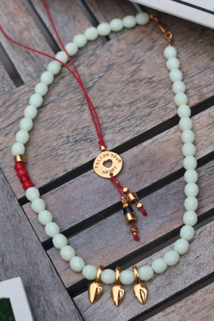 Update Your Closet With Manola Gold - good luck necklace - good luck jewelry - gold jewelry - red jewelry