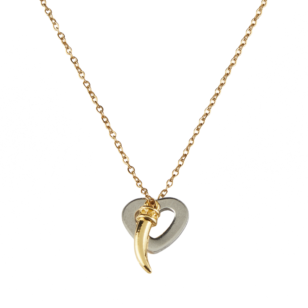 Silent Bond Necklace - horn charm necklace - gold horn jewelry - gold horn charm - lucky necklace - heart necklace